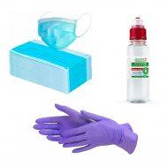 Набор индивидуальный СИЗ (антисептик, одноразовые перчатки, защитные маски)